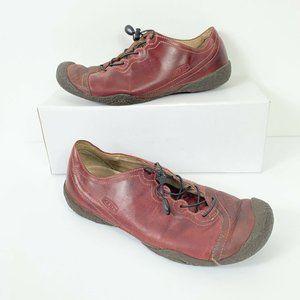 KEEN Burgundy Leather Slip On Shoes Wm Sz 9.5